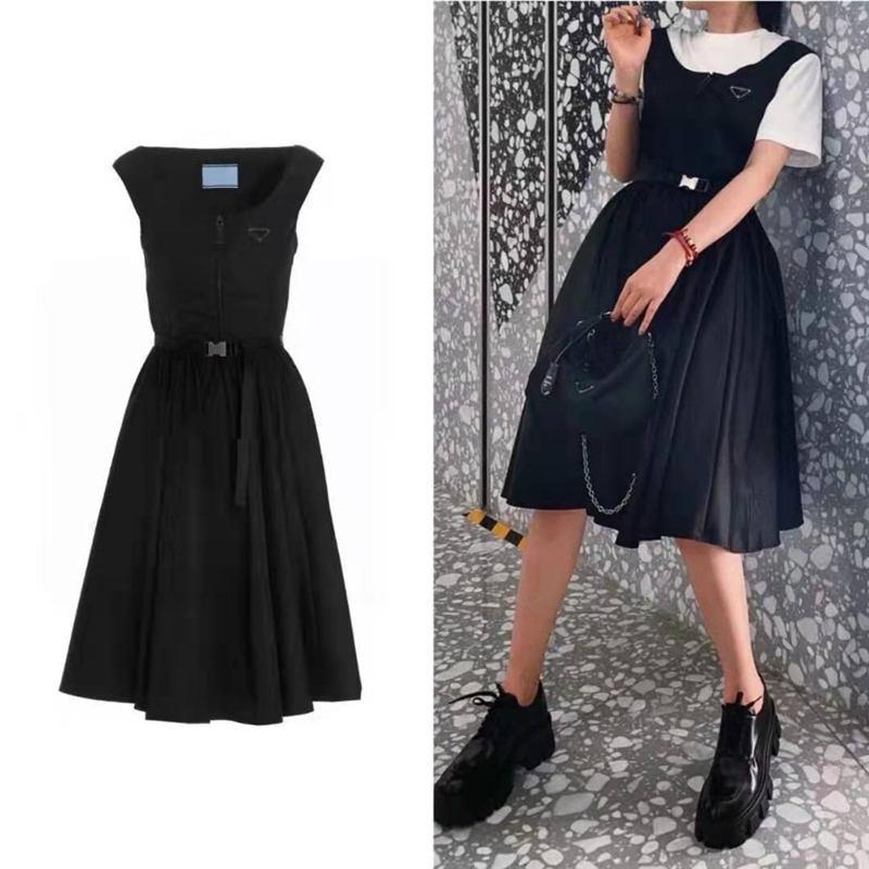 Women Dress Sleeveless For Spring Summer Outwear Casual Style With Budge Letter Lady Slim Dresses Belt And Strap Dress With Zipper Bust Tops