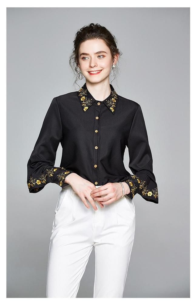 2020 Fashion Autumn New Women's Blouses & Shirts Long Sleeve Lapel Neck 100% Polyester Lady's Embroidery Laptops