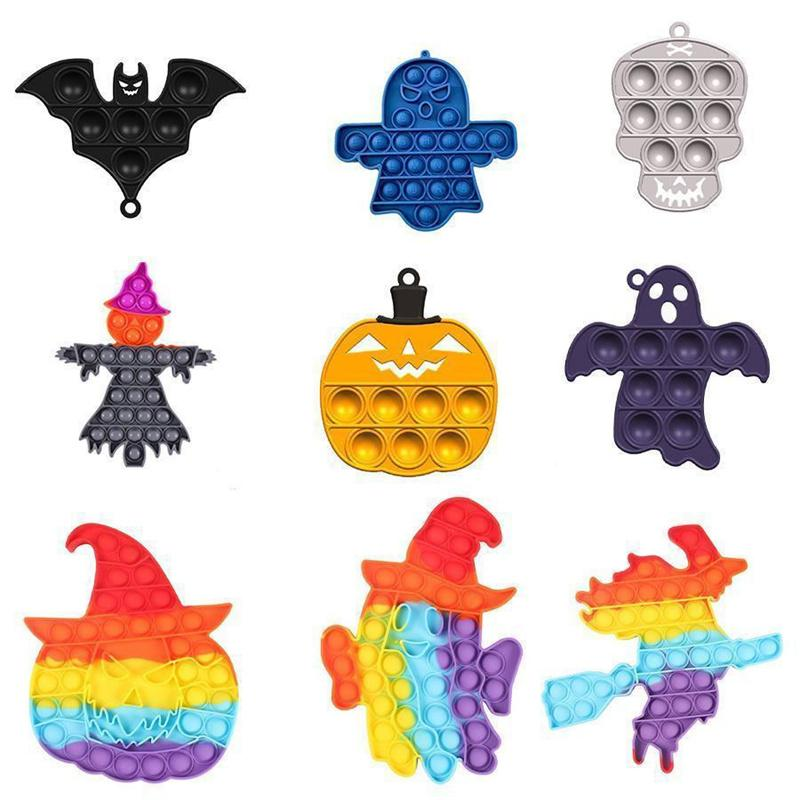 Halloween Fidget Toy Party Favor Ultime Rainbow Ghost-shaped Push Bubble Silicone Decompression Dimple Sensory Toys Gifts for Children,Let yourself relax