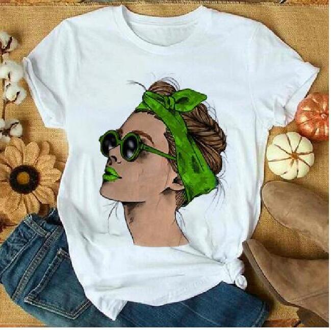 Plus Size T-shirt Women Summer Vogue Print Lady Casual T Shirt Tops Harajuku Streetwear Short Sleeve Tshirt,Drop Shipping