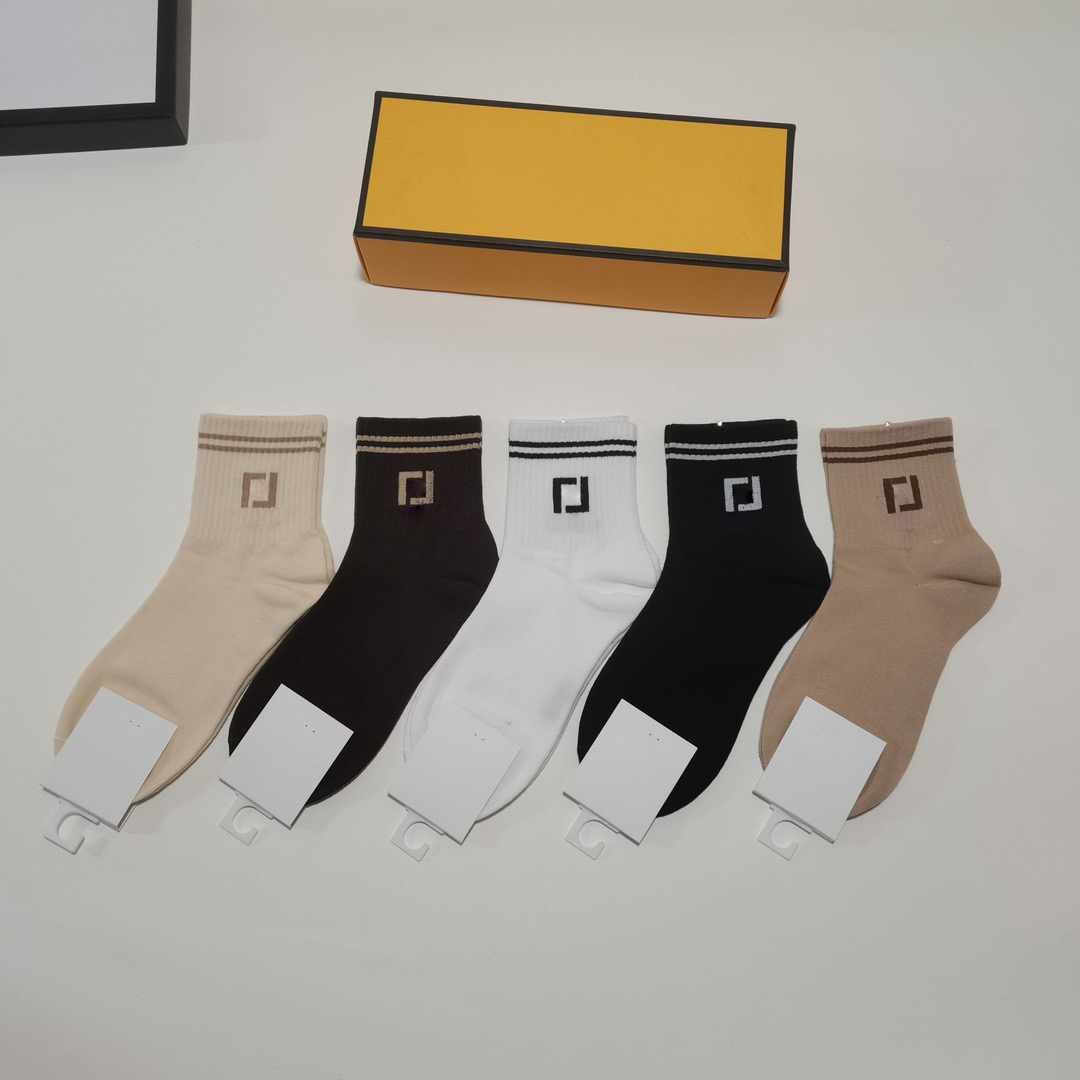 2021 Classic Sports Designer socks Women Sock casual mens 100%Cotton high quality 5 Pairs/Box embroidery wholesale with box