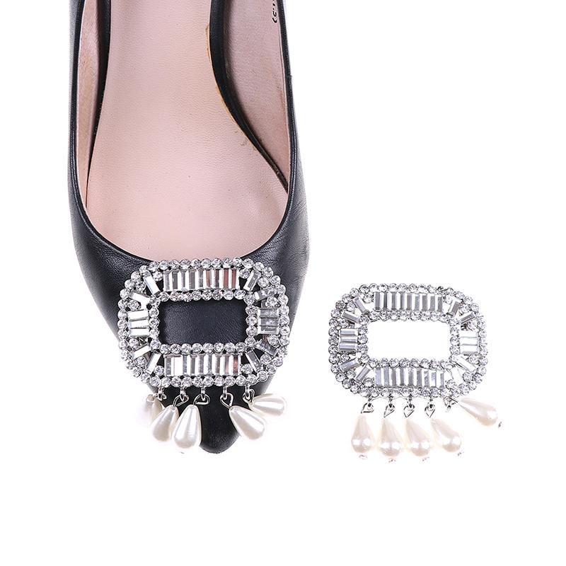 Shoe Clips Faux Pearl Rhinestone Shoes Buckle Women Bridal Prom Decor 5.5*5cm