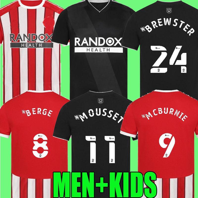 2021 2022 Sheffield Soccer Jerseys MOUSSET BERGE United 21 22 camiseta de fútbol McBURNIE LUNDSTRAM FLECK home away Football Shirt NORWOOD SHARP men kids kit tops