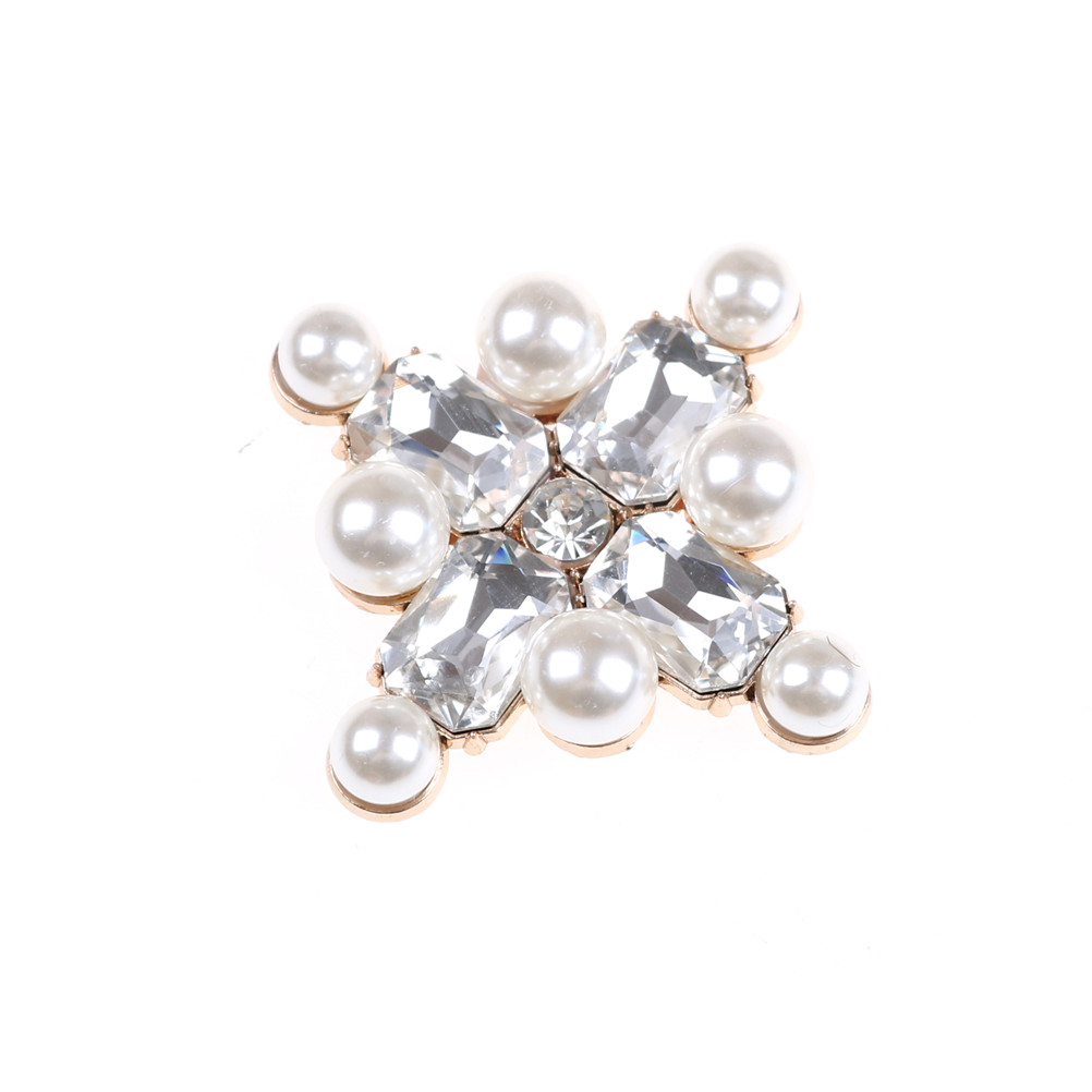 1Pc Rhinestones Crystal Pearl Shoes Decoration for Women Flower Clip Inserting Buckle Decorative Accessories Insert Bead Fitting