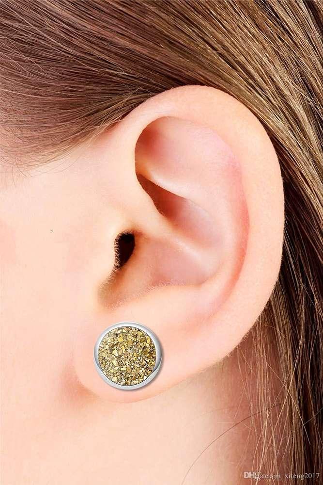 Fashion Imitation Stone Crystal Stud Earring Round Gypsophila Druzy Earrings For Women Engagement Wedding Jewelry Gifts