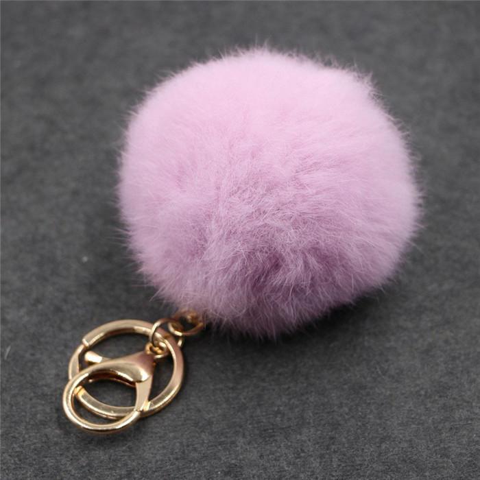 8CM ffy Pompom Real Rabbit Fur Ball Key Chain Women Trinket Pompon Hare Fur Toy keyring Bag Charms Ring Keychain Wedding Gift (21)