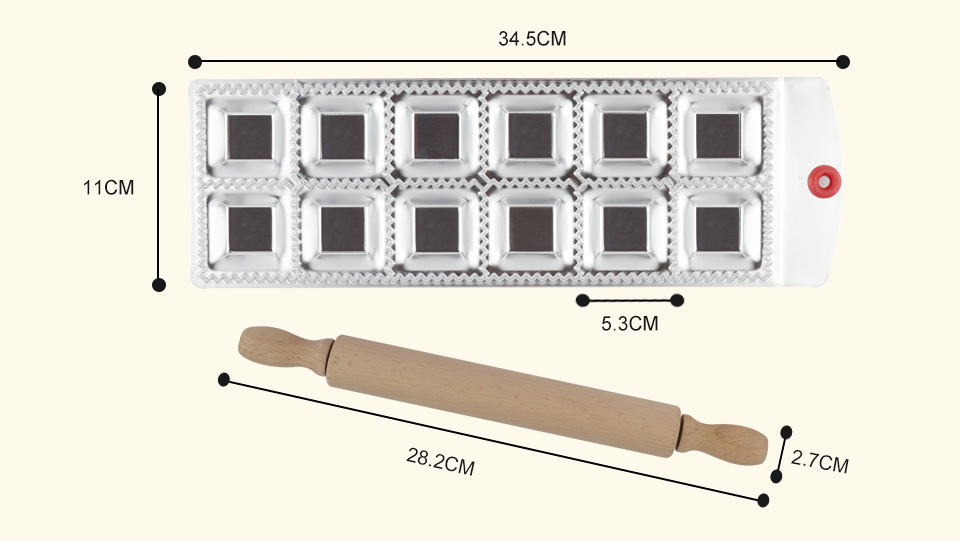 12 Square Ravioli Molding Tray Set _06