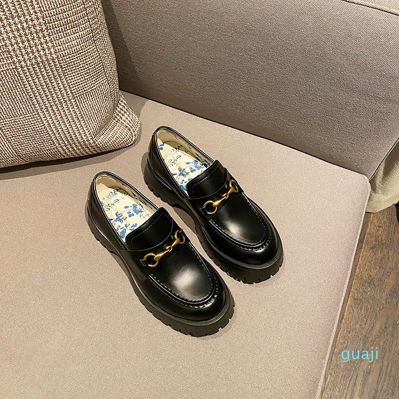 2021 autumn horsebit loafer shoes net celebrity with bee small leather shoes platform platform women's shoes LJ201