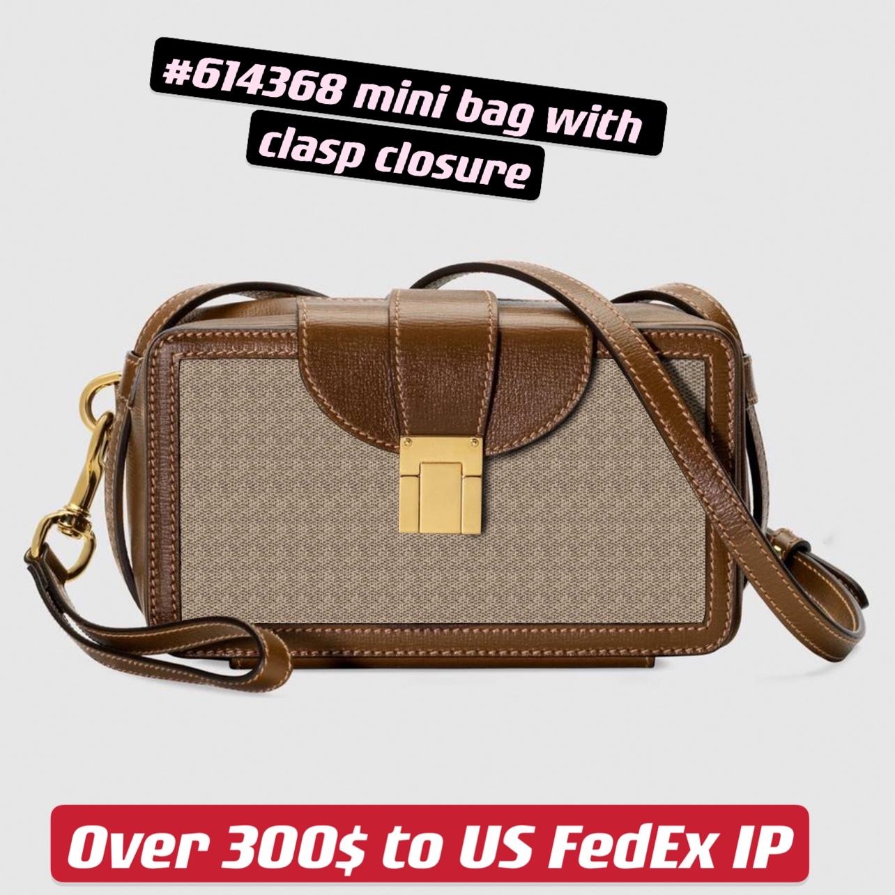 Mini Bag with Clasp Closure Square Flap 614368 Women Petite Trunk Shape Lovely Vintage Crossbody
