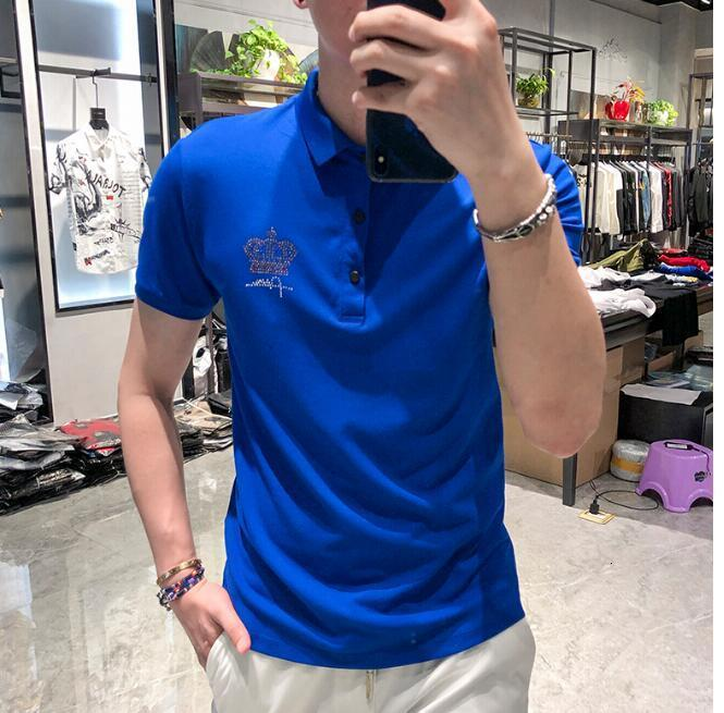 Summer Cotton Brand Men's Polo Shirts Male Tops Plus Size asian size M-4XL Ganbu Brand Men's Polo Shirts Hot drill Short Sleeve Slim Breatha