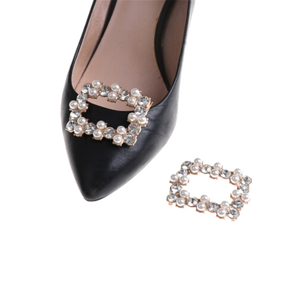 1PCS New Faux Pearl Crystal Rhinestones Charm Shoe Clips Bridal Shoes Rhinestone Clip Buckle Decorative Accessories