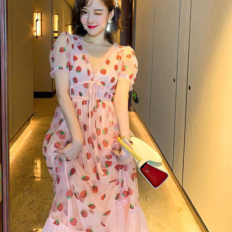 Runway Rhinestone Diamonds Strawberry Pink Mesh Maxi Dress Women Short Puff Sleeve Sexy V-neck Lace-up Bow Tunic Lolita Dress (17)