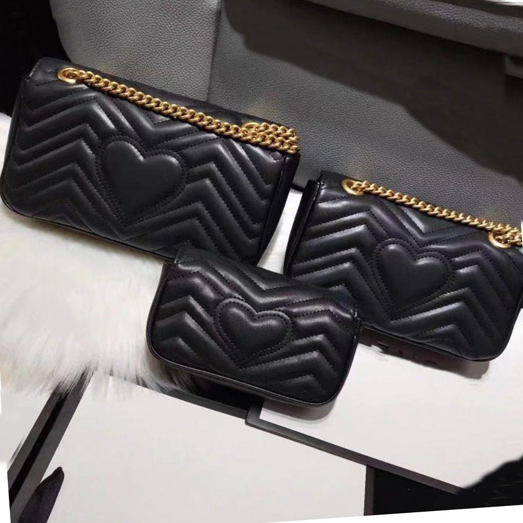 2021 Ladies Luxury Designer Marmont Ladies Bag Shoulder Bag Handbag Classic Leather Heart Shaped Gold Chain Tote Bag Wallet