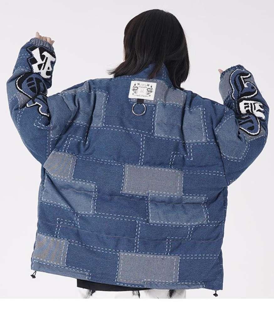Hip Hop Parka Jacket Men Streetwear Retro Patchwork Jacket Coat Cotton Winter Warm Padded Jacket Zip Outwear Thick