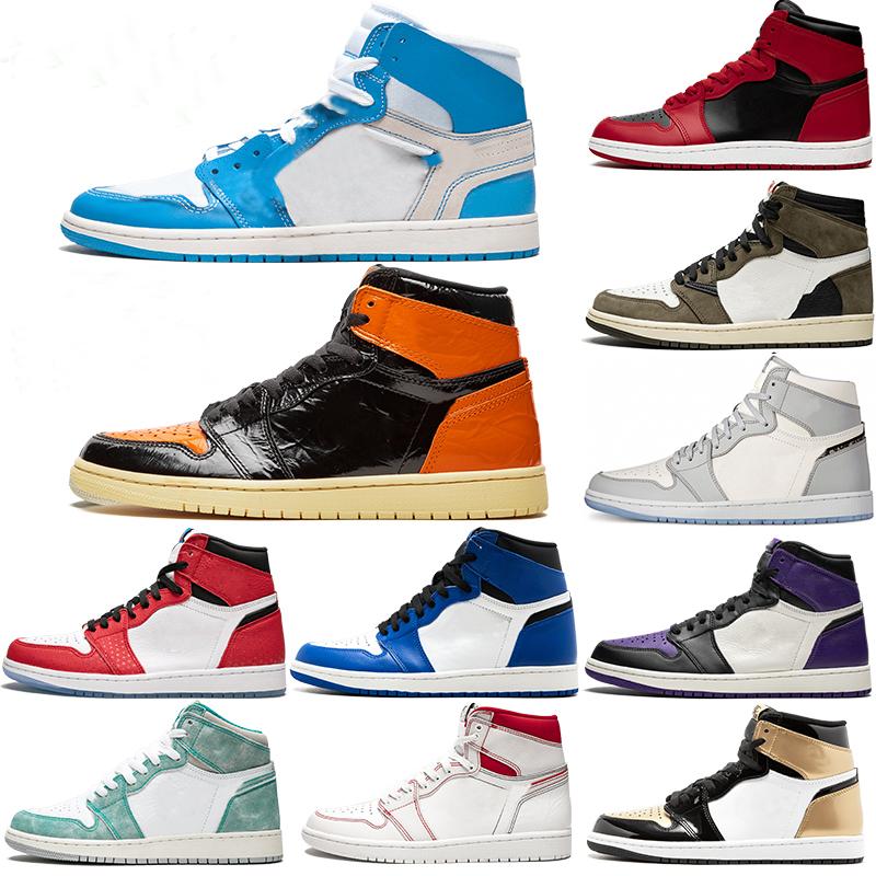 Mens 1 high OG basketball jordan1s shoes 1s University Blue electro orange dark mocha bred shadow UNC twist men women Sneakers trainers 36-45