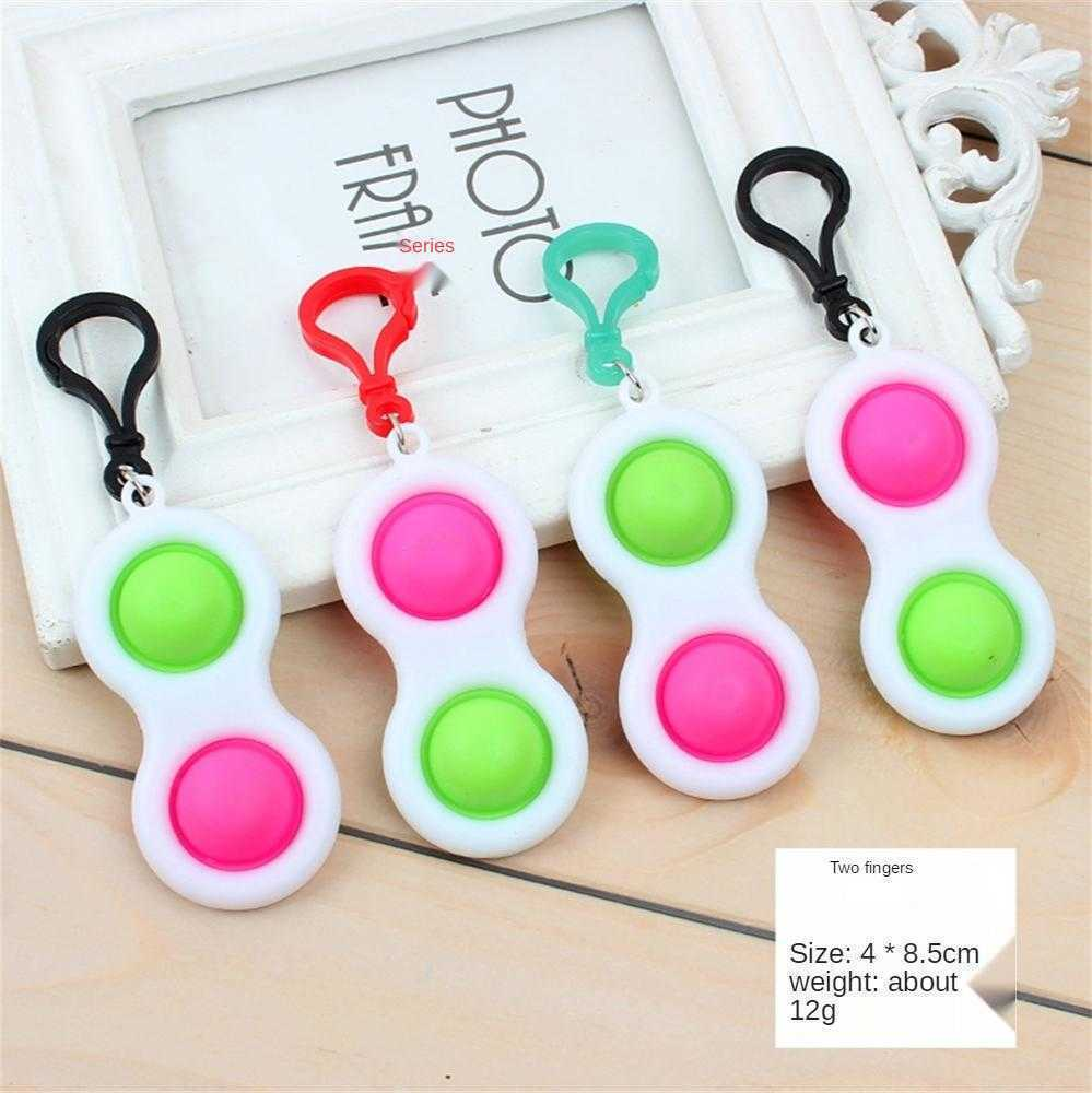 Keychain Push Bubble Fidget Toy Poppers Squeeze Finger Toys Rainbow Tie Dye Grab Snap Hand Hands Strength Grip