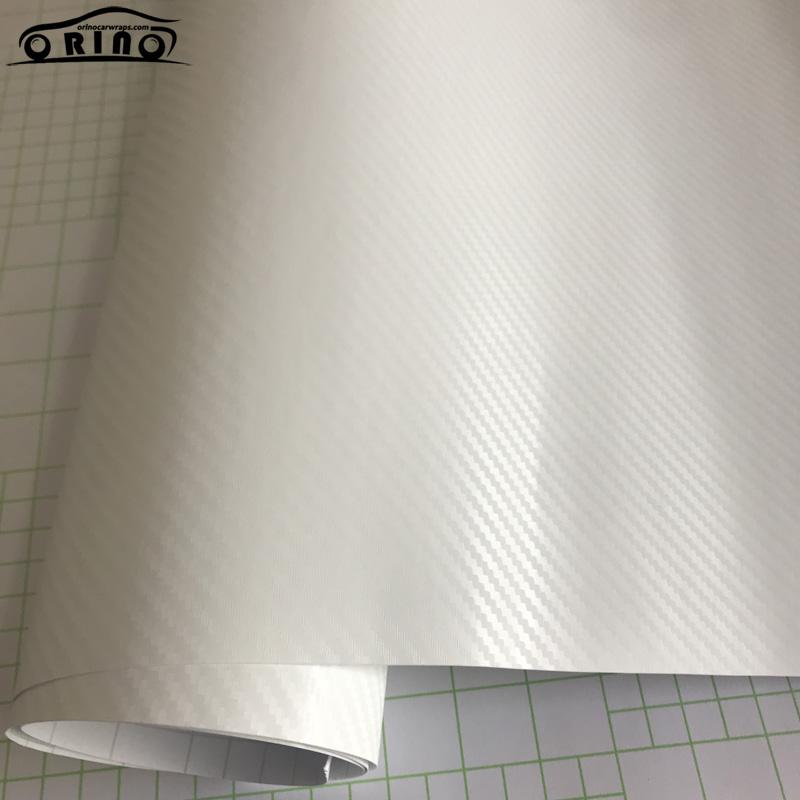 White 3D Carbon Fiber Vinyl Film Wrap-2