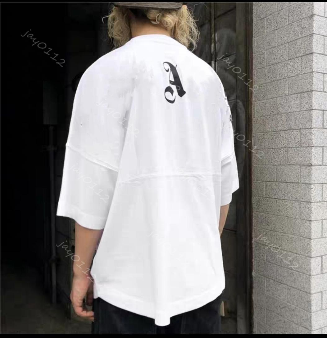 21SS ANGELS Beauty tide A PALM printing ANGELS PA loose casual sports round neck short sleeve T-shirt men and women 697