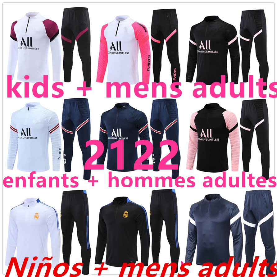 2021 2122 training football jerseys Soccer Jersey tracksuit suit kids + Men adult real madrid chandal jogging