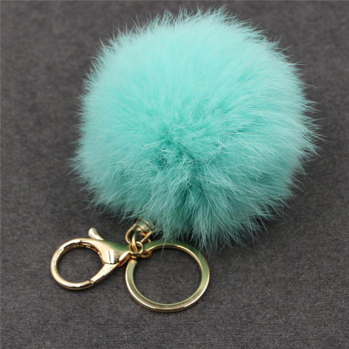 8CM ffy Pompom Real Rabbit Fur Ball Key Chain Women Trinket Pompon Hare Fur Toy keyring Bag Charms Ring Keychain Wedding Gift (19)