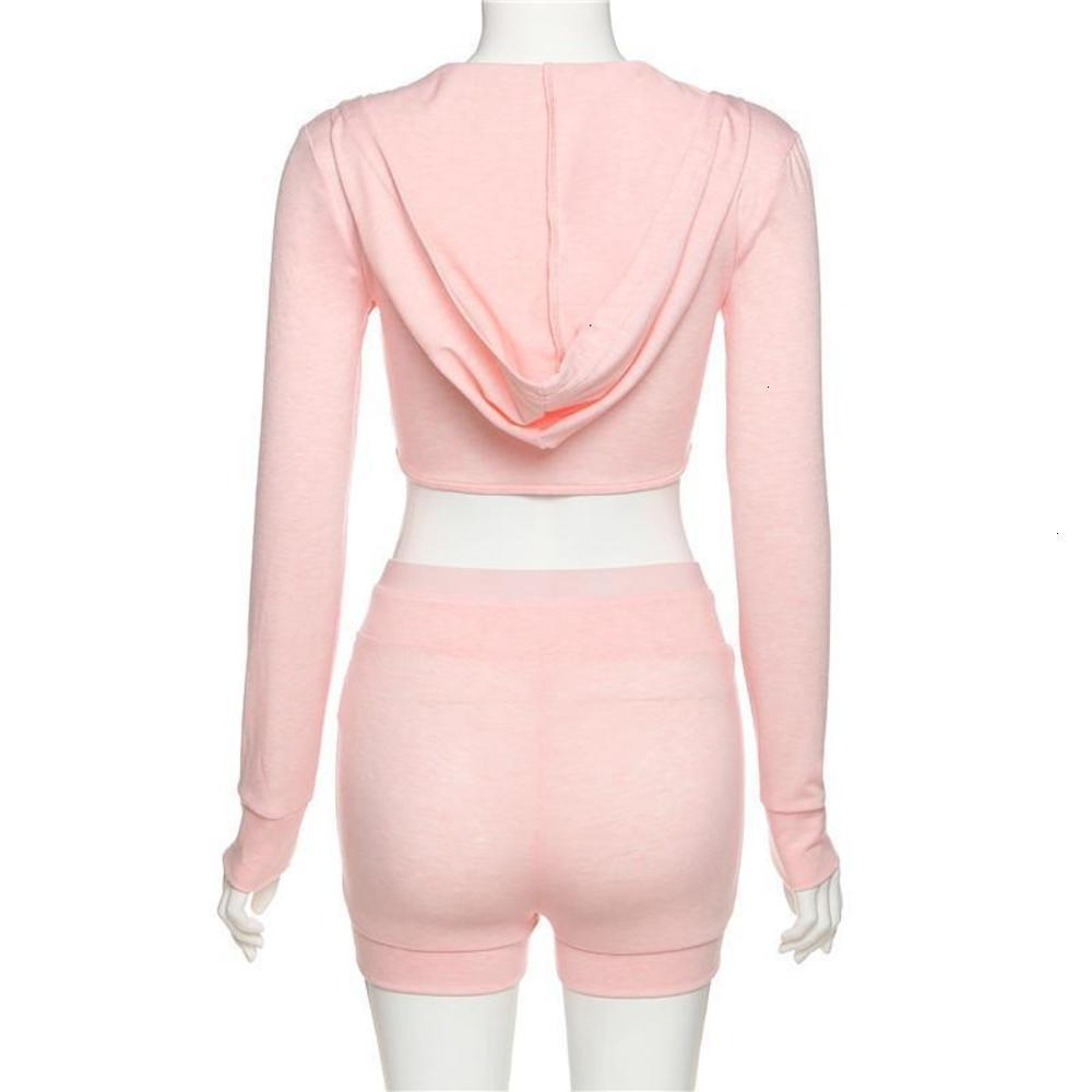 Casual Long Sleeve Bodycon Women Matching Sets Hooded Workout Active Wear Outfits Corset Top And Shorts Set Hot