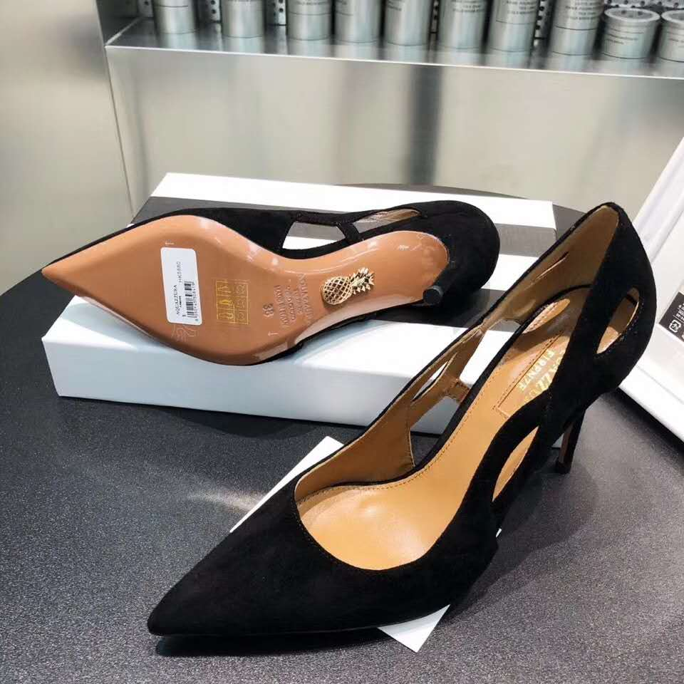 New Season Aquazzura Forever Pumps Suede Leather Forever Pumps Pointed Toe Cut Out Detail High Stiletto Heel Shoes