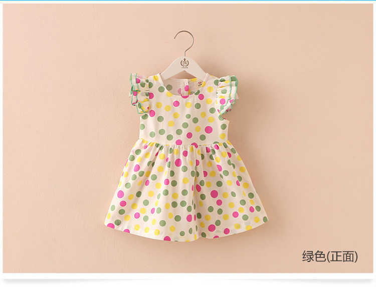 Summer 2-10 Years Beautiful Pretty Sweet Children Baby Kids Pleat Short Fly Sleeve Party Prom Polka Dot Dresses For Girls (5)
