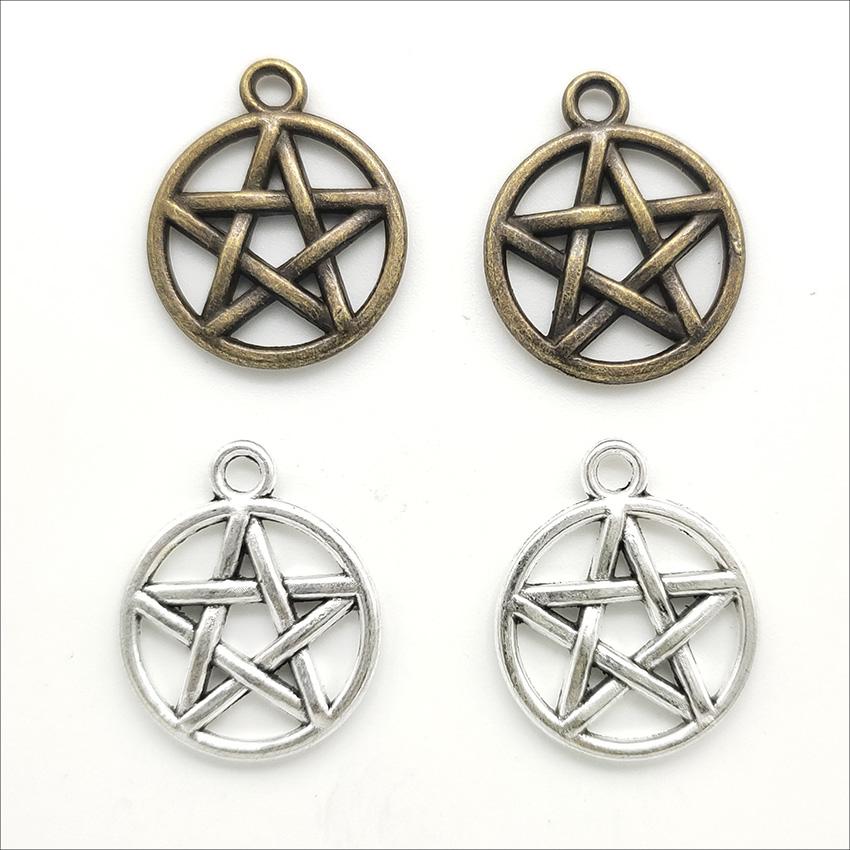 100pcs pentagram Alloy Charms Pendant Retro Jewelry Making DIY Keychain Ancient Silver / Bronze Pendant For Bracelet Earrings 20x16mm