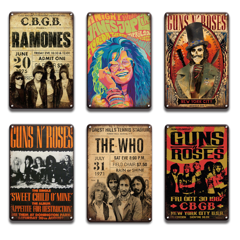 2021 Gun&Roses Metal Poster Tin Sign Vintage Johnny Cash Top Music Metal Plaque Sign Pub Bar Wall Sign Sweet Home Room Wall Plate Decoration