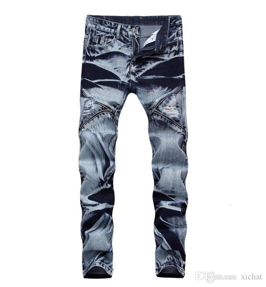 big size jeans newest men's snow jeans zip stitch hole denim pants slim casual streight leg jeans size 30-42 cj1887