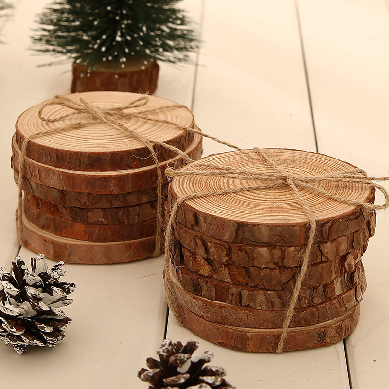 6pcslot Pine Wooden Chips Cut Pieces Wood Log Sheet Rustic Wedding Decor Party Centerpieces Vintage Country Style (1)