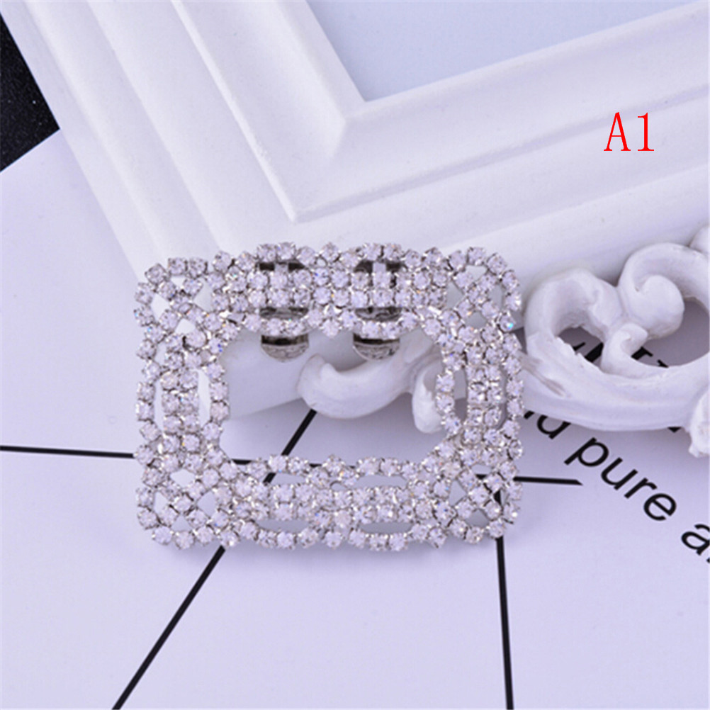 Rhinestone Shoe Square Bowknot Shape Clips Silver Shoes Buckle Elegant For Shoe Decorations 2Styles Fashion For Women Girl