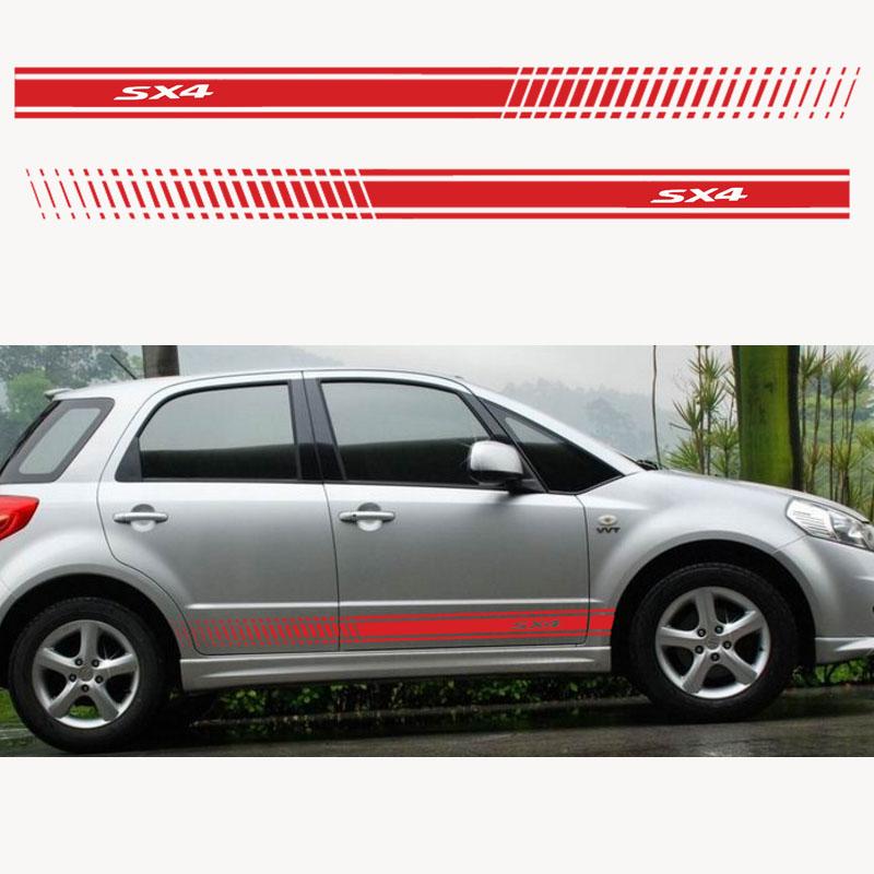 2Pcs Stylish Car Side Body Sticker Vinyl Body Decal Side Sticker Stripes Stickers for Suzuki Sx4 (3)