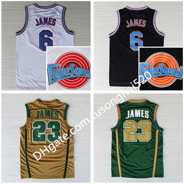 NCAA St. Vincent Mary High School Irish 6 23 James Jerseys Basketball Shirt Tune Squad TOONES TuneSquad Space Jam Green White