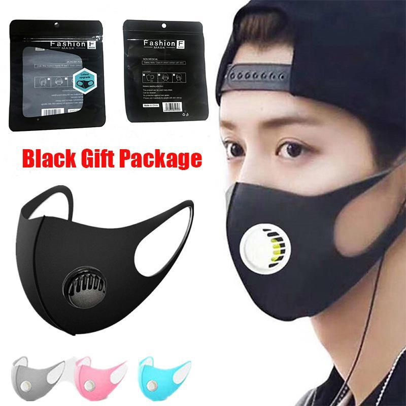 Mouth Ice Washable Face Mask With Valve PM2.5 Breathing Black Gift Package Anti Dust Respirator Dustproof Anti-bacterial Reusable Silk