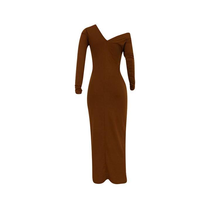 Sexy Oblique Shoulder Dresses Womens Solid Color Slim High Waist Dress Autumn Fashion Casual Long Sleeve Women Bodycon Clothing