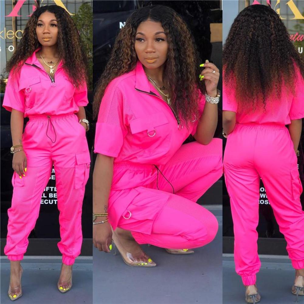 Women Soild Tracksuit Summer Zipper Up Pullover Mesh Patchwork Short Sleeve Tops And Big Pockets Loose Pants Outfit