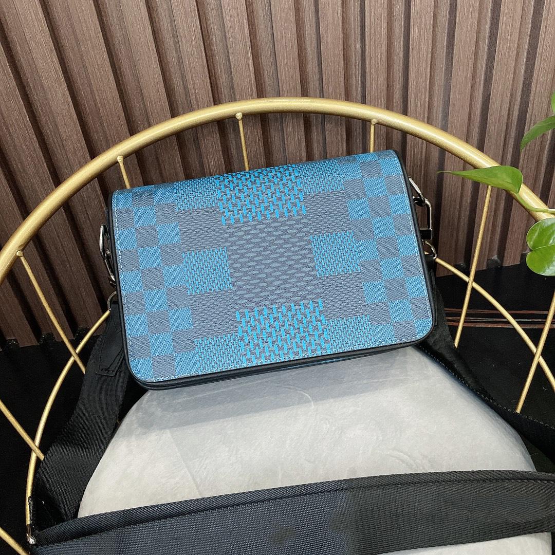 with box 2021 top quality mens STUDIO messenger bags 3d canvas fashion plaid man cross body purse n50013
