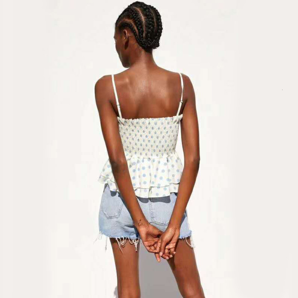 New Arrival Dropship New Fashion Polka Dot Print Casual Sling Blouse Shirts Women Back Elastic Ruffles Tops XS - L Z12