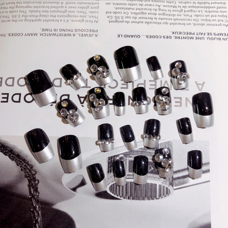 24pcs/set Fake Nails With Rhinestone Press On Aritifical Finger Tips With 2g Glue Black Color Nail Art False Nails