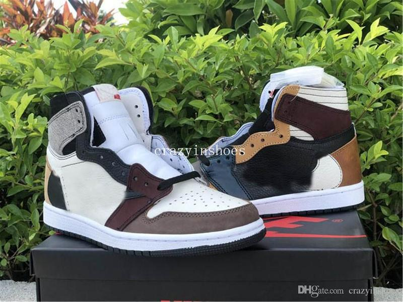2020 New Jumpman 1 Basketball shoes Travis Scotts Mens OG 1s High Low Barb brown Men Sport Sneaker Shoes
