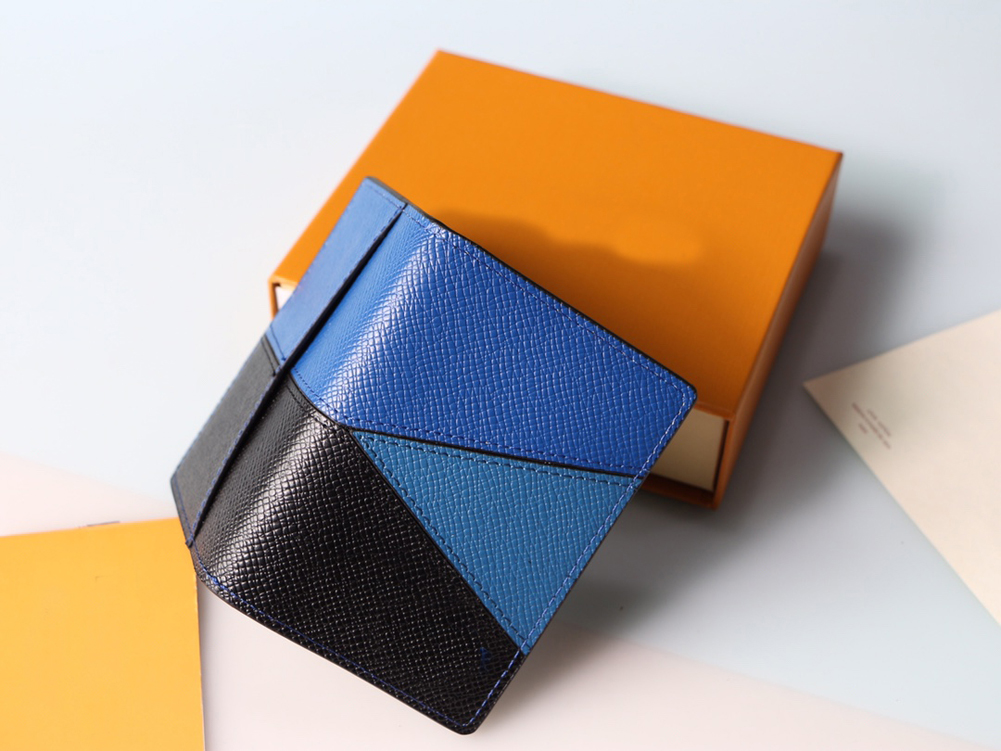 blue color Fashion Mens Wallets Classic Men Wallet Stripes Textured Wallet Multiple Bifold Short Small Wallets With Box