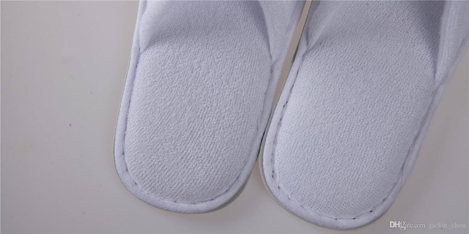 5mm 6mm 28*11cm Disposable Hotel Towelling Slippers One-time Non Slip Slippers With EVA Sole Closed Toe White