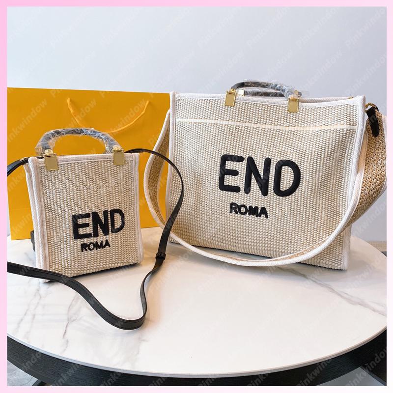 Fashion Shoulder Bag 2021 Women Tote Handbag Straw Beach Luxurys Designers Bags Bucket Basket Womens Handbags SUNSHINE SHOPPER 2106081L