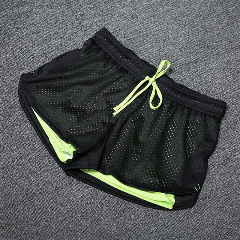 Summer Women Cotton Mesh Short Pants Work-out Two Layer Fitness Fold Short Pants Cool Wear Drawstring Clothing (22)