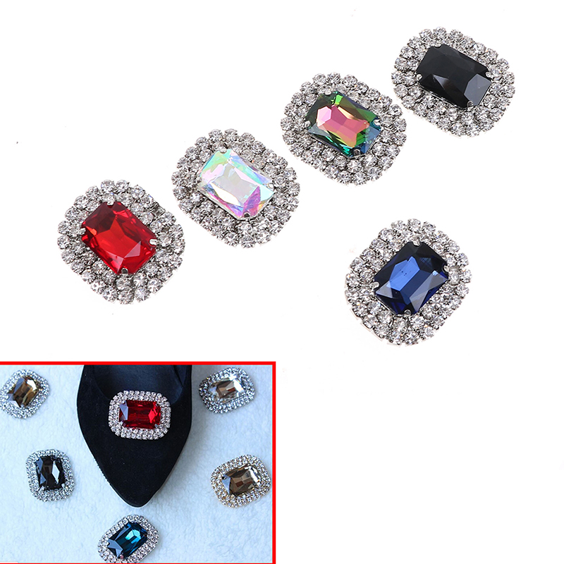New 1Pcs Metal Rhinestone Shoes Buckle Clip Fashion Shining High-Quality Shoe Clips Decoration 10 Colors Available