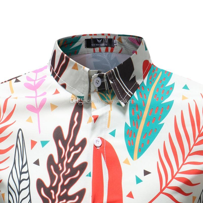 Leaves printing long sleeve shirts for Man Dress Shirts mens slim and fit shirts new arrival