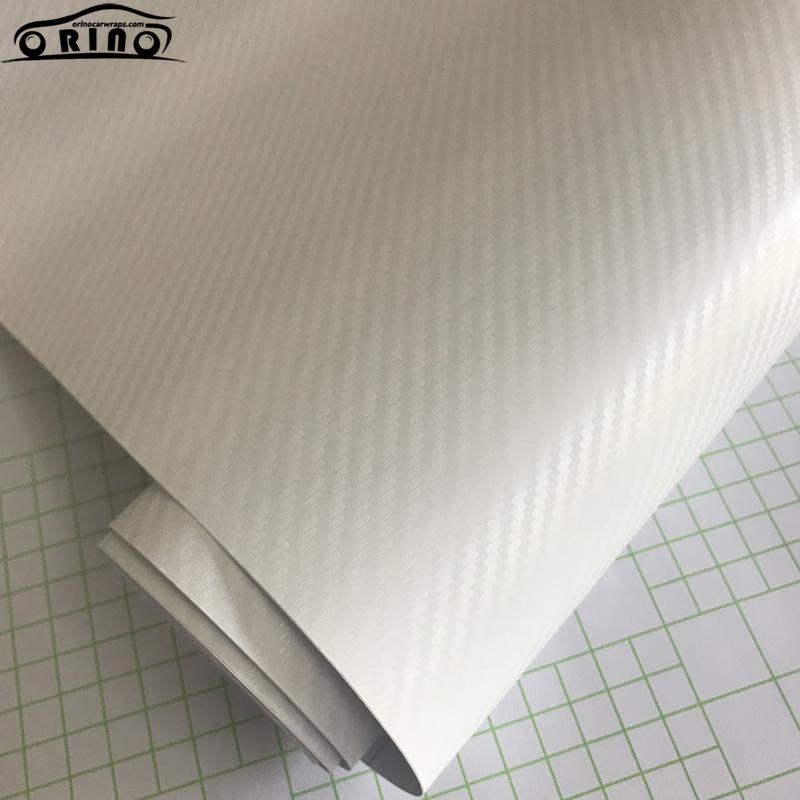 White 3D Carbon Fiber Vinyl Film Wrap-3