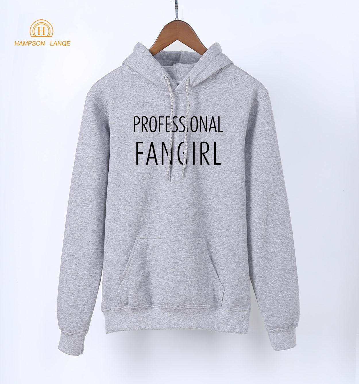 HAMPSON LANQE Professional Fangirl Print Korean Gray Hoodies Women 2019 Spring Autumn Kawaii Sweatshirts Female K-pop Hoodies