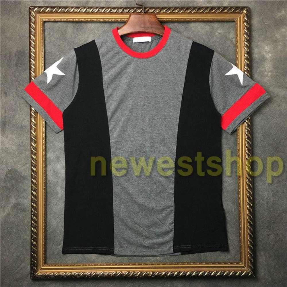 2020 Summer Newest Fashion clothing mens patchwork print t shirts gray red white star print t shirt womens Designer t shirt cotton tee